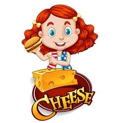 Cute girl having cheeseburger vector