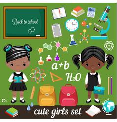 cute schoolgirls and set school supplies vector image