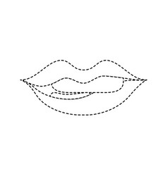 Dotted shape mouth with lipstick and bite inferior vector