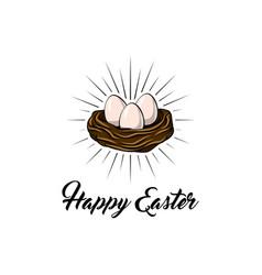 easter egg in bird nest easter greeting card vector image