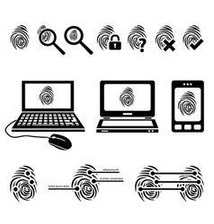 Fingerprint icons vector