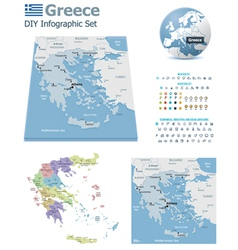 Greece maps with markers vector