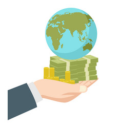 Hand holding money and earth globe vector
