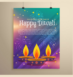 Happy diwali festival flyer greeting template vector