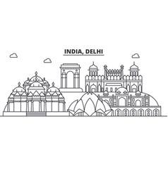 india delhi architecture line skyline vector image