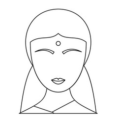 indian woman icon outline style vector image