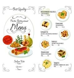 Italian cuisine restaurant pasta menu template vector image vector image