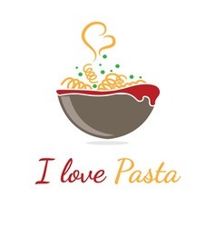 Logo template pasta in bowl vector