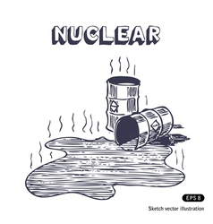Metal barrels with nuclear waste vector image