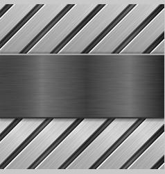 Metal brushed plate on metallic background vector