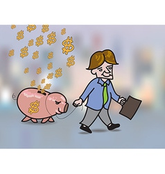 Money falling in hole on back of pink piggy bank vector