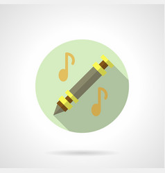 Music lessons flute flat round icon vector