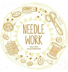 Needle work design vector image