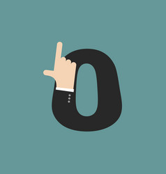 Number 0 letter businessman hand font it shows vector