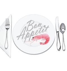 Serving plates and cutlery vector
