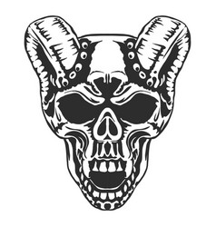 skull horned demon vector image vector image