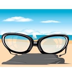 Spectacles on beach vector
