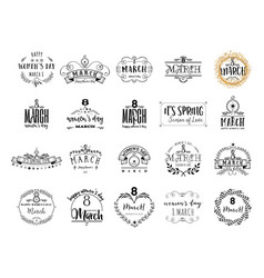 typography badge 8 march the pattern printing vector image vector image