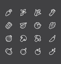 Vegetable white icon set on black background vector
