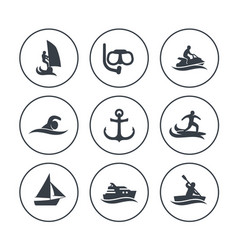 Water sports icons surfing sailing diving vector