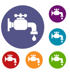 water tap icons set vector image
