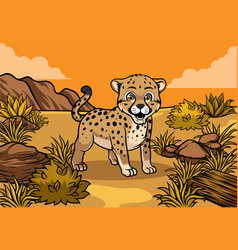 young cheetah in the savannah vector image vector image