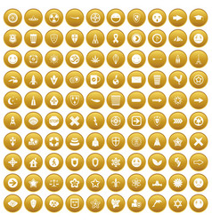 100 emblem icons set gold vector