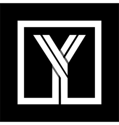 Capital letter y from white stripe enclosed in a vector