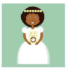 girl in white communion dress vector image