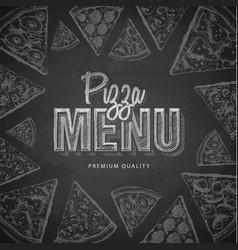 Chalk drawing typography pizza menu design vector