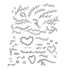 Gentle of hand drawn branches vector