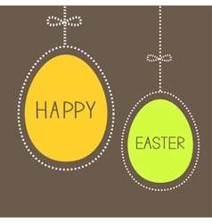 Hanging easter eggs with dash line and bow brown vector