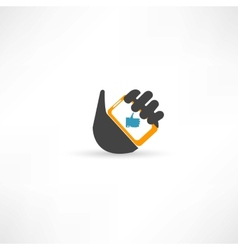 Phone in hand thumb up vector image