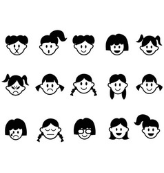 Girls emotion face icons vector
