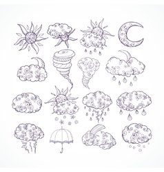 Doodle weather forecast graphic symbols vector image