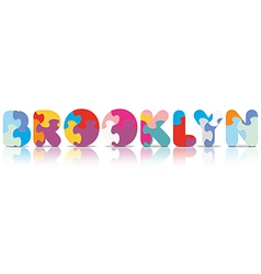 Brooklyn written with alphabet puzzle vector