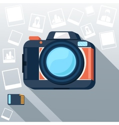 Photo camera with pictures vector