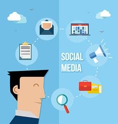 Social media network flat vector