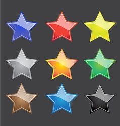 Color star button with sparkle vector