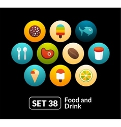 Flat icons set 38 - food and drink collection vector