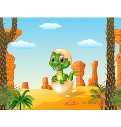 Cute baby tyrannosaurus hatching with prehistoric vector