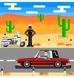 Road police cop officer security policeman vector