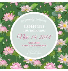 Baby shower card - with waterlily floral design vector