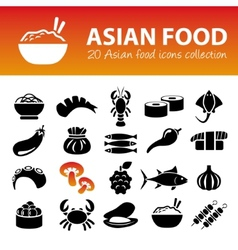 Asian food icons vector