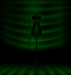 Black craft dummy in the dark green room vector