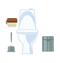Ceramic toilet and other common washroom vector