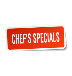Chefs specials square sticker on white vector