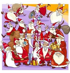 christmas santa group cartoon vector image vector image