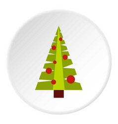Christmas tree with toys icon circle vector