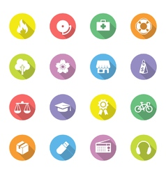 Colorful simple flat icon set 6 on circle with lon vector